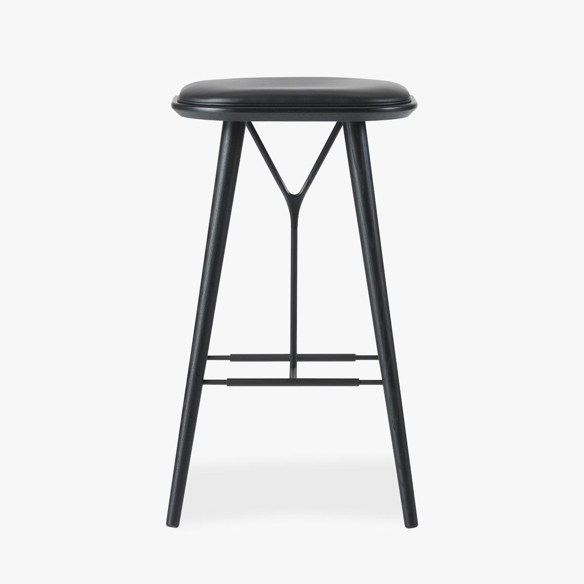 Spine Stool Black Stained Black Leather-1200