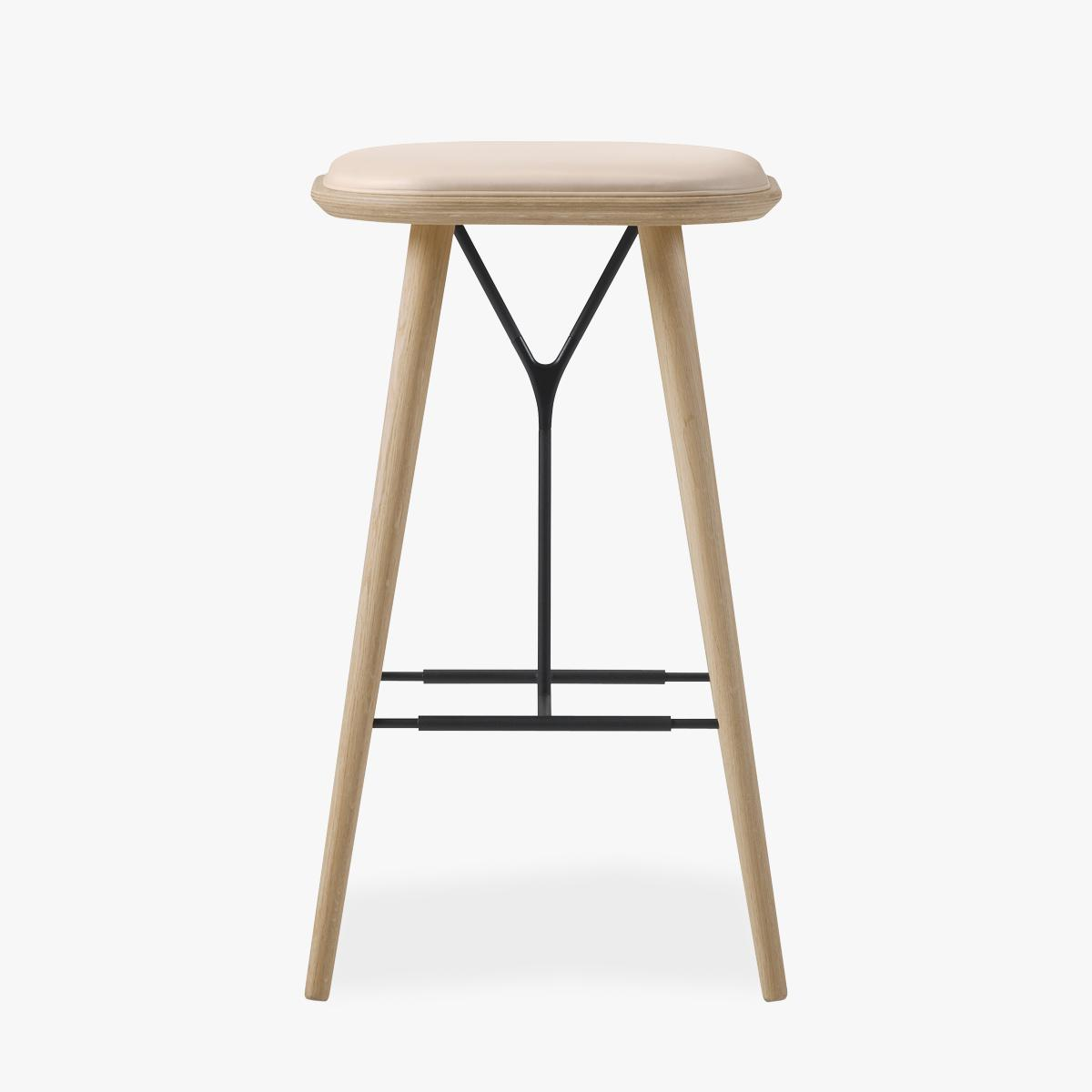 Spine Stool Oak Natural Leather - Front-1200