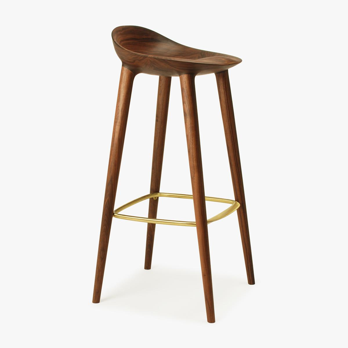 Bar Stool Walnut Brass Side 2