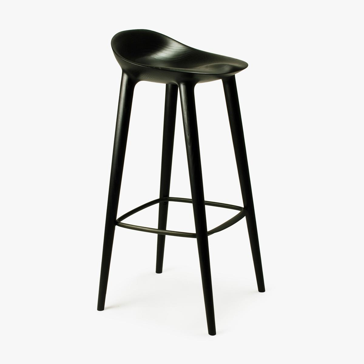 Bar Stool Black Ash Black Back Side 1
