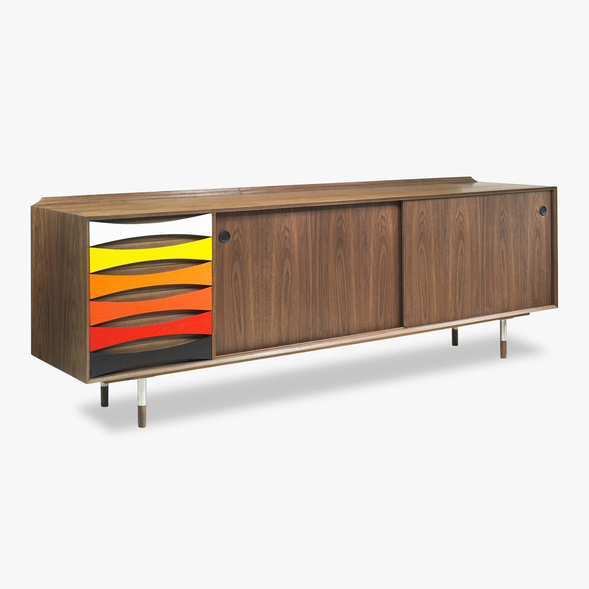 Sideboard AV01 Walnut with stained handles Side